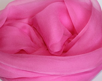 "Hot Pink Silk Chiffon Gauze - Photo Prop - Newborn Wrap - Low Shipping - Felting Supplies - 21""x82"""