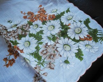 Large Unused Vintage Hanky With White and Orange Floral Design, Unusual Corner Markings