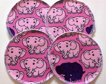 2 Pairs of Cloth Nursing Pads - Elephants on Pink