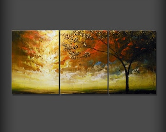 textured painting 66 inch quirky surreal wall art wall decor home and living tree painting art acrylic original painting Wall hanging gift
