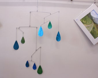 Raindrop Mobile Raining in the Room Kinetic Art Sculpture - Metal Mobile for High Ceilings - Holographic Effect Mobile by Carolyn Weir, Art