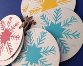 Christmas snowflake letterpress gift tags , pack of 6