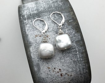 Square Coin Pearl Earrings - Spring Earrings - Coin Pearl Earrings - White Pearl Earrings - Mothers Day Earrings - Wedding Earrings