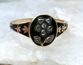 Gold Victorian Mourning Ring Rose Cut Diamonds Forget Me Not Flower Black Enamel Engraved 1857 Name Date