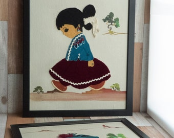 Vintage Framed Folk Art Navajo Boy and Girl