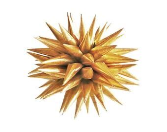 Gold Christmas Holiday Ornament Paper Folk Art Tree Ball Christmas Tree Decoration Star Urchin Polish Porcupine Ball - Antique Gold, 3 inch