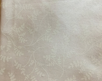 White on white fern fabric,  background cotton print. quilting, sewing,  Half-yard