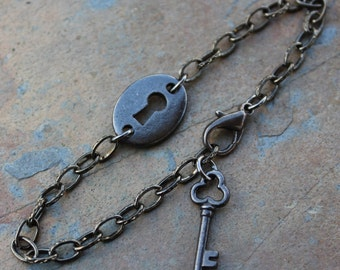 Gunmetal black key & keyhole bracelet -love, anniversary, Valentine's Day - steampunk, victorian gothic romance - free shipping in USA