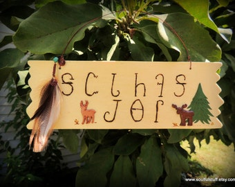 Welcome Friends Sign, Cherokee Language, Elk and Deer, Handcrafted Sign, Wood Sign, Cabin Decor, Mountain Decor, Native Style