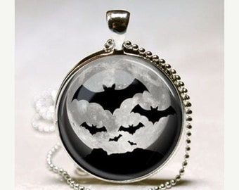 SaLe BATS FULL MOON Gothic Goth Wicca Halloween Gift Altered Art Glass Pendant Charm Necklace