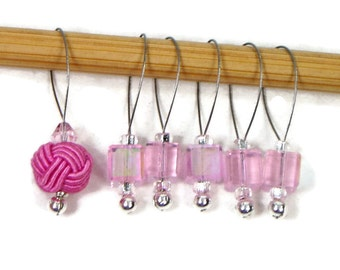 Stitch Markers Snagless Pink Cube Knitting Tools Beaded Celtic Knot Snag Free Handmade