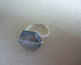 Size 5 1/2 Tarnish Resistant Silvertone Wire Wrapped Ring w. Lt Blue Glass Bead Center
