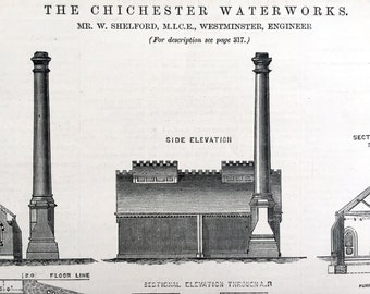 1878 Large English Antique Print of the Chichester Waterworks - Old Engineering Drawing