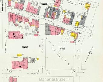 1964 Vintage Map of Etobicoke - Toronto - Insurance Maps - Dundas West - Runnymede - Sheets 1219-1220
