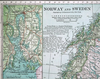Large  Antique Map of Norway and Sweden - Vintage Map - Home Decor - Office Decor