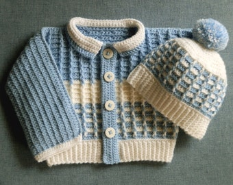 Crocheted Boy or Girl Sweater Set with Matching Hat PDF Pattern