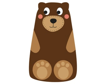 Felt Bear PDF Sewing Pattern and Tutorial Easy Hand Sewing Teddy Bear Plushie Bear Softie Pattern JB102