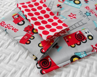 Kid's Lunchbox Set, Placemat and 2 Napkins, Fireman Placemat, First Responders Placemat, Montessori School Set, Fabric Placemat, Reversible