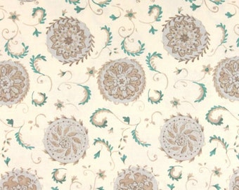 COUPON CODE SALE - Dena Designs, The Painted Garden, Dahlia, Grey Floral, Free Spirit, 100% Cotton Quilt Fabric, Quilting Fabric