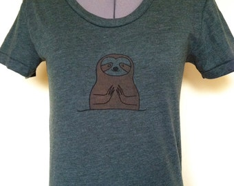 Namaste Sloth Shirt Heather Forest Slim Fit Womens Sizes Small through XLarge