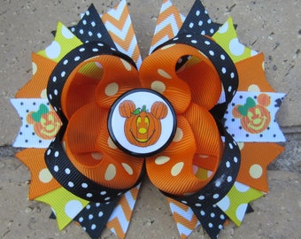 Mickey Mouse Minnie Mouse Disney Halloween Pumpkin Fun Funky Boutique Hair Bow