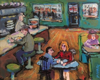 Diner painting interior restaurant art expressive colorful people eating food with waiter and tables at counter with coffee cups, Russ Potak