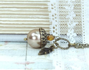Fall Jewelry Acorn Necklace Autumn Jewelry Nature Necklace Acorn Jewelry Woodland Necklace Fall Necklace
