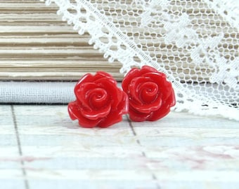 Red Rose Earrings, Rose Bud Earrings, Red Stud Earring, Hypoallergenic, Rose Studs