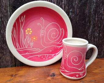 Happy Pink Snail Plate and Mug Set / Children / Kids