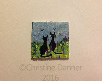 Tiny Miniature Dollhouse Art 1x1 inch Painting Black Cats Watching Birds