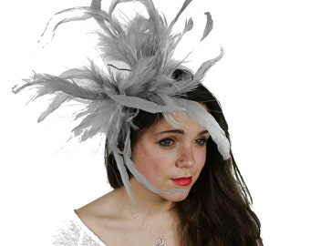 Unstripped Grey Fascinator Hat for Weddings, Races, and Special Events With Headband