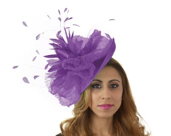 Purple Kuribi Fascinator Hat for Kentucky Derby,Melbourne Cup, Ascot (other colors)