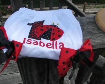 ladybug  Bloomers, birthday bloomers, 1st birthday,  ladybug diaper cover, red ladybug bloomers, name and number red ladybug birthday