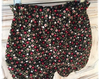 Bloomers, corduroy bloomers, girls bloomers, shorts, bottoms, toddlers bloomers, black, red and white flowers, fall, winter, children