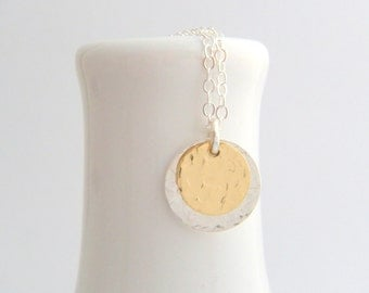 gold and silver hammered disc necklace. yellow 14K gold filled sterling mixed metals two toned  layereddainty tiny simple jewelry 3/8 on 1/2