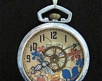 "Steampunk jewelry necklace- ""Springtime"" - Pocket Watch Case- Pendant- Necklace - Upcycled wearable art"