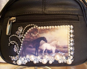 Black Leather Crossbody Purse with a Horse & Pony Scene and Rhinestones