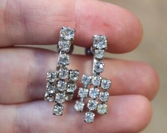 Rhinestone Earrings / Old Hollywood Glamour / Women's Costume Jewelry / Screw Back Earrings