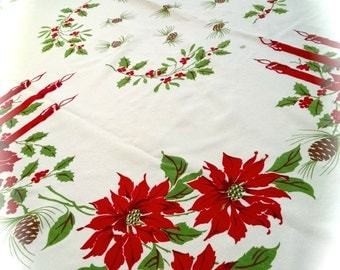 Tablecloth Christmas Vintage Cutter Floral with Holly Design 51 1/2 in x 44 in Crafting Fabric Supplies