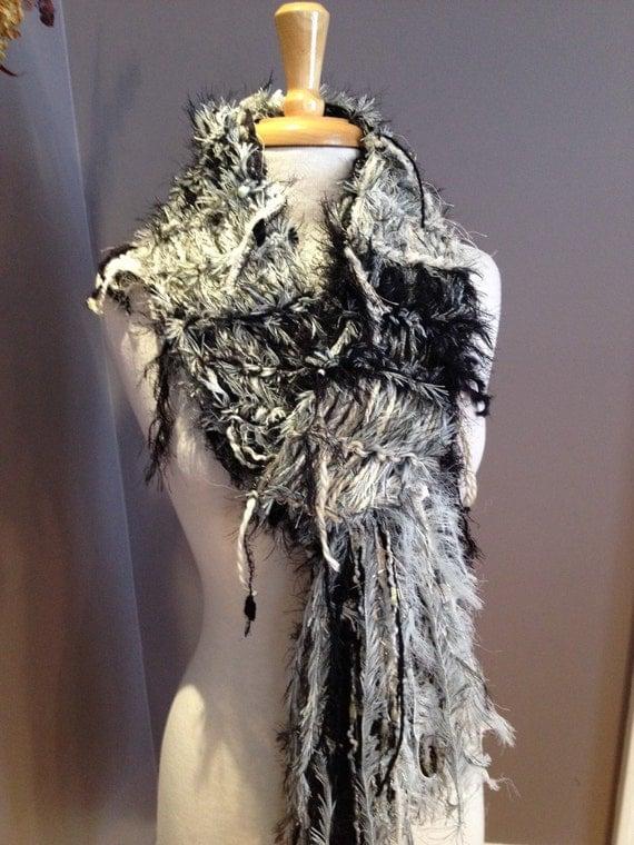 Fringed Funky Scarf - 'Venus' Dumpster Diva Knit Fringed Scarf in cream and black, scarves for women, fashion, fringed scarves, boho, tribal