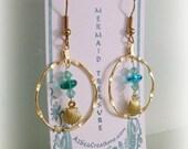 Mermaid Gold Dangle Earrings