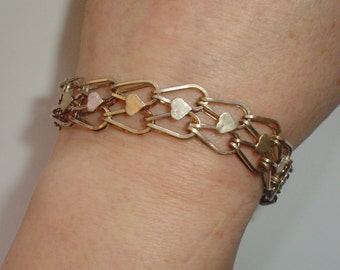 Silver bracelet charm charms sterling starter vintage heart links chain mail