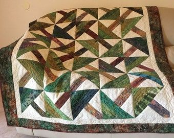 Quilted Sofa Throw or Lap Quilt, Green and Brown Pine Trees Batik Quilt, Timber Masculine Quilt, Quiltsy Handmad Patchwork Throw