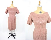 """1950s dress vintage 50s tan pink lace soutache sheath cocktail dress S W 26"""""""