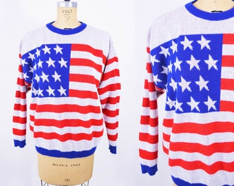 1970s sweater vintage 70s American flag red white and blue slouch novelty sweater M/L