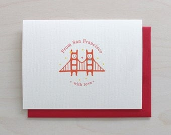 Golden Gate Twins Greeting Card - Love