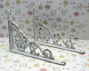 Wall Bracket Cast Iron Shelf Ornate Brace Shabby Elegance Classic White Floral Brackets Distressed 1 Pair (2 individual brackets)