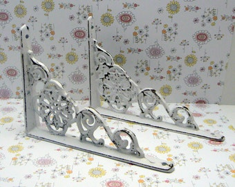 Shelf Bracket Cast Iron Shabby Chic Floral Brace White 1 Pair DIY Home Improvement