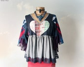 Hippie Babydoll Top Bohemian Tunic Patchwork Heart Upcycled Clothing Women Art Clothes Layered Shirt Boho Eco Friendly Fashion M L 'ALYSSA'