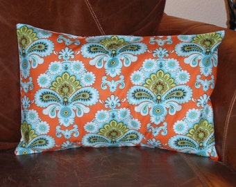 "Throw Pillow Cover, Orange Damask Pillow Cover, Lumbar Pillow Cover, Handmade Decorative Cushion Cover, Amy Butler Fabric, 12x18"" - LAST ONE"